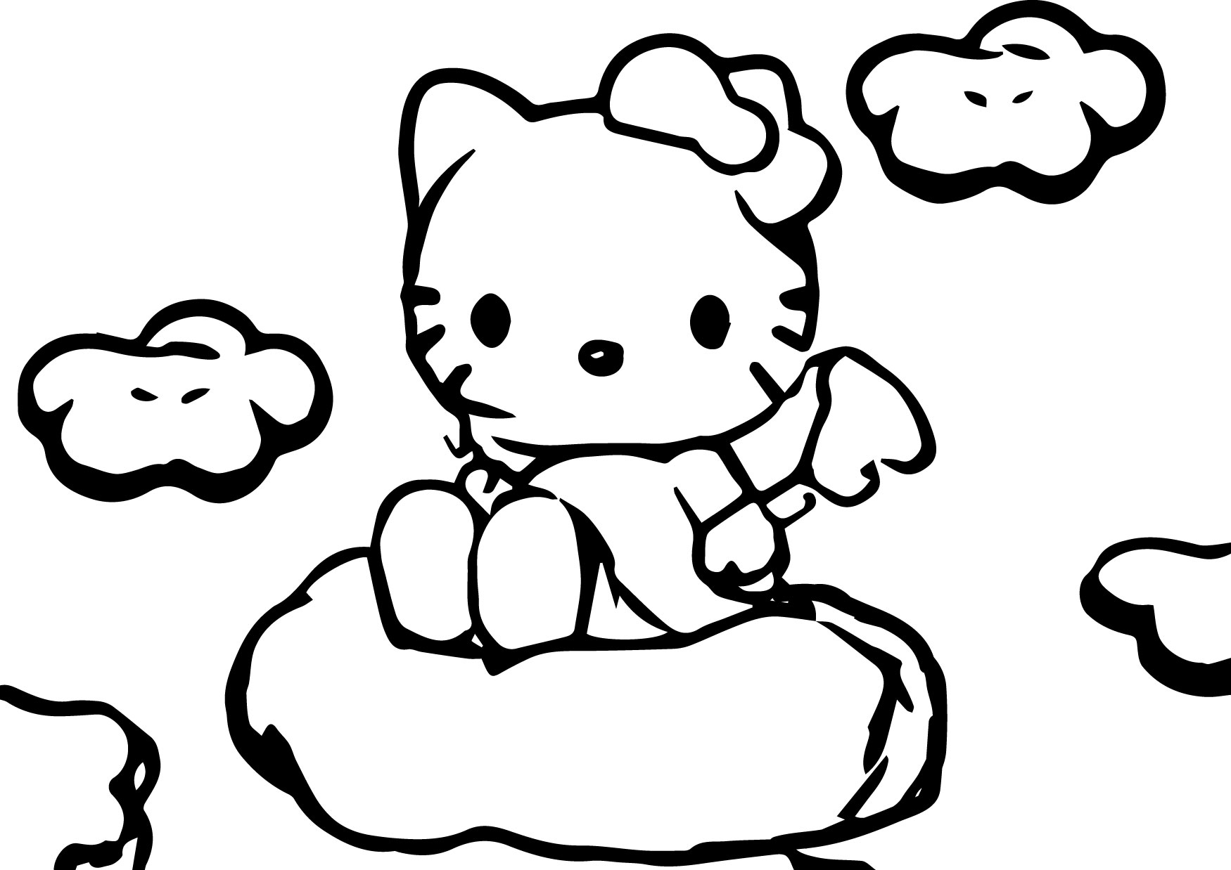 Hello Kitty Cartoon Cloud Coloring Page
