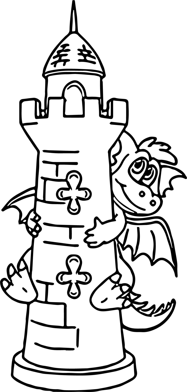 Hiding Dragon Castle Coloring Page
