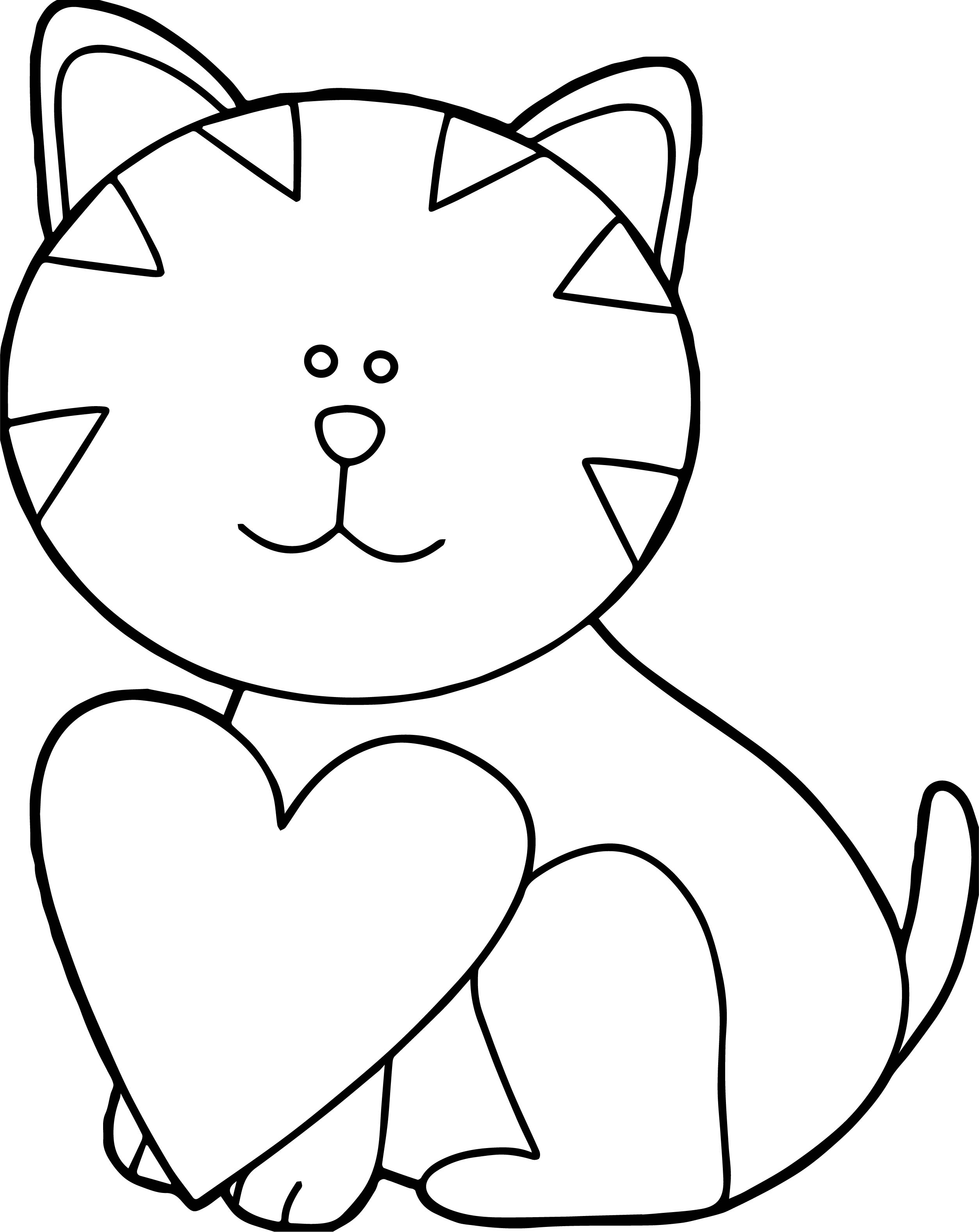 Holding Heart Cat Coloring Page