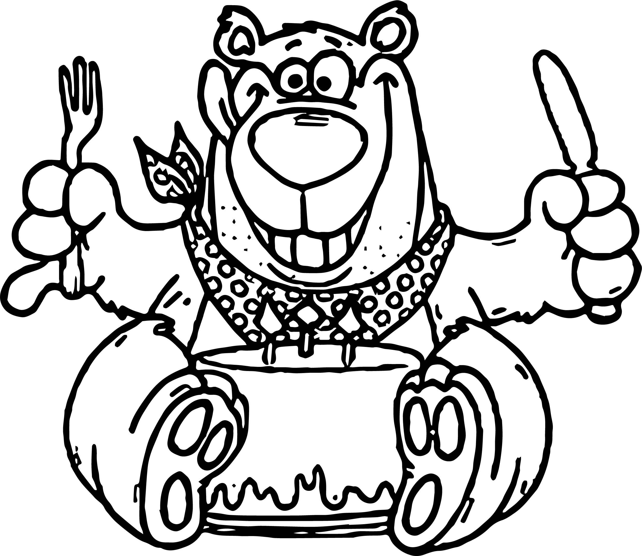 Hungry Birthday Bear Coloring Page