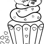 Illustration Of A Valentine Cupcake With Love You And Kiss Me Hearts On Top Coloring Page