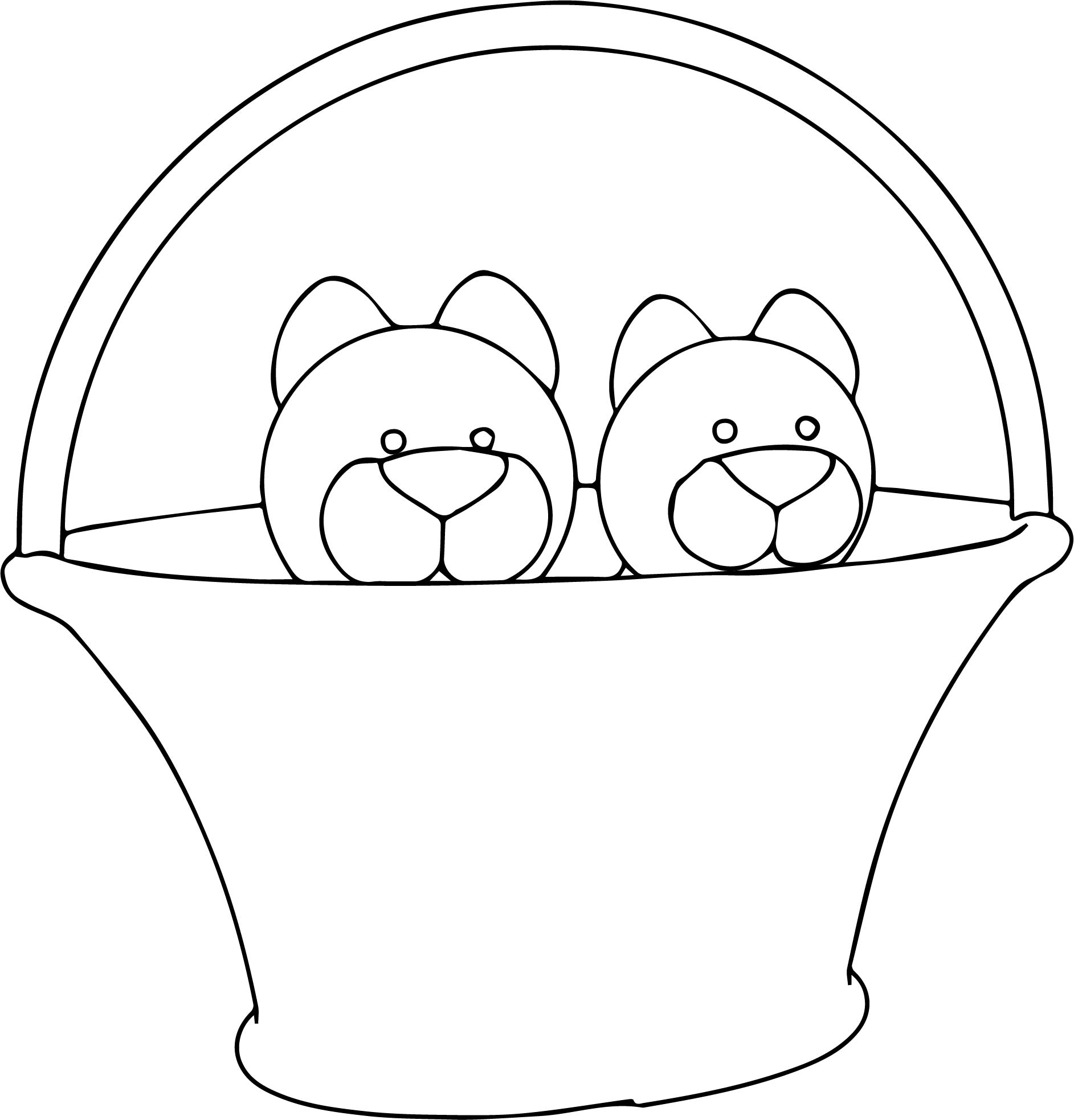 In Basket Cats Coloring Page | Wecoloringpage