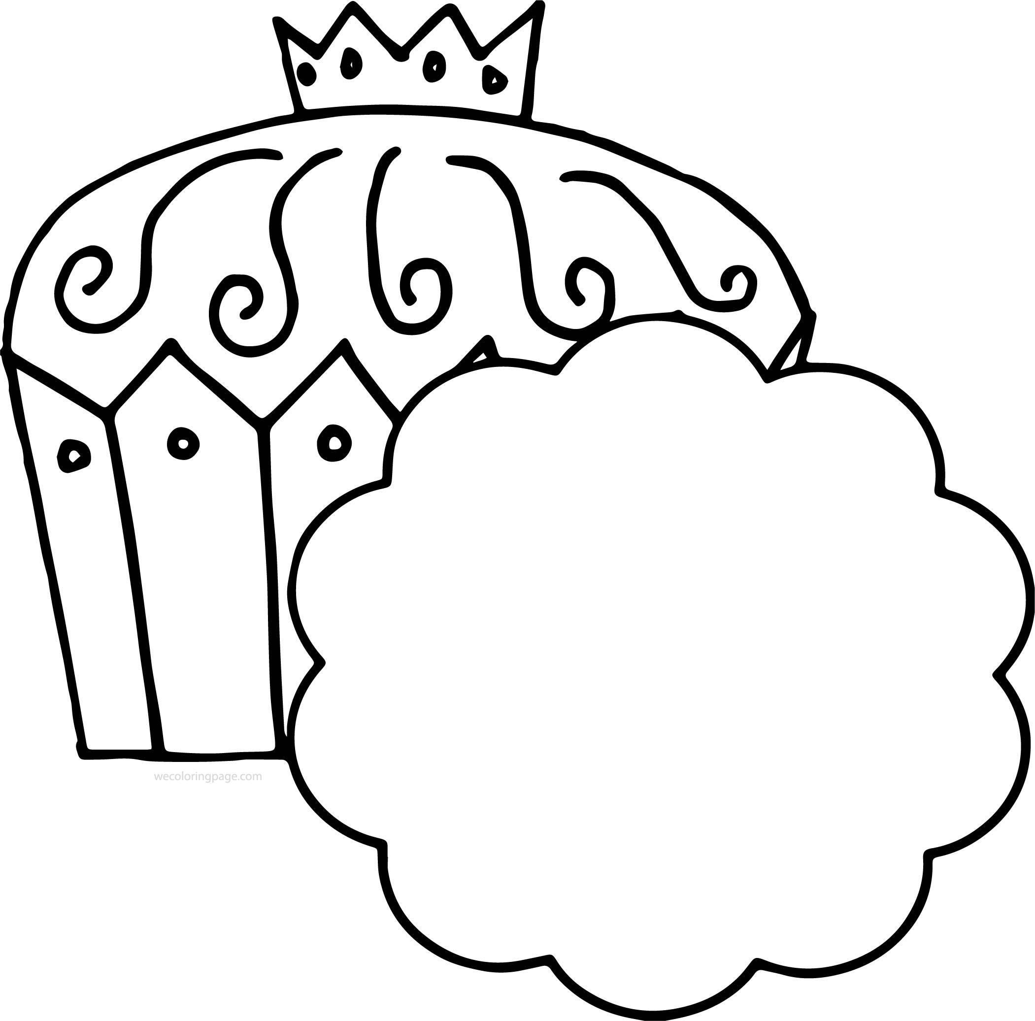 King Cupcake Black White Image Free Coloring Page