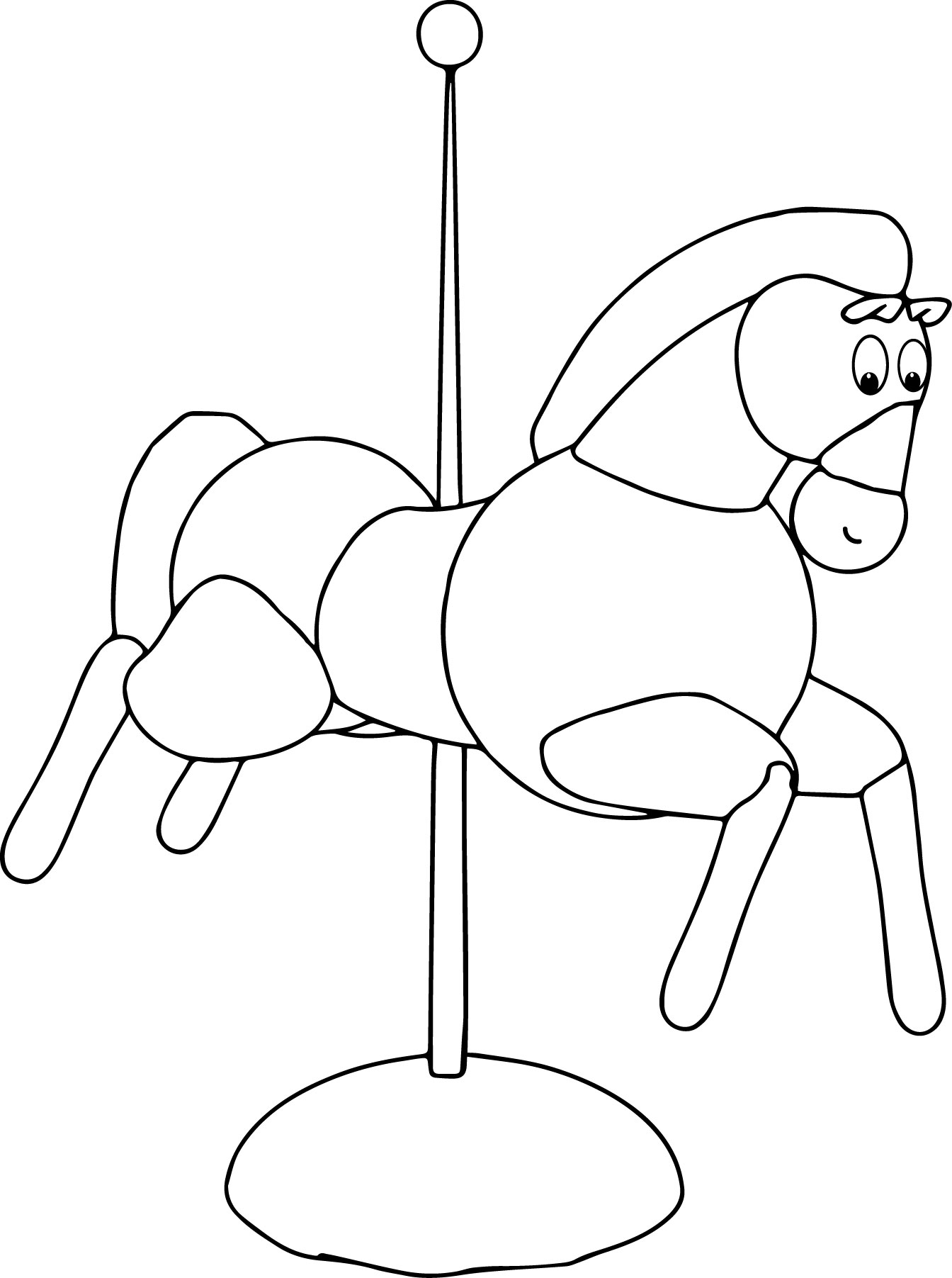 Lunapark Horse Riding Coloring Toy Page