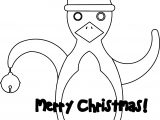 Merry Chrismas Christmas Penguin Stationary Coloring Page