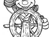 Mickey Captain Sketch Coloring Page