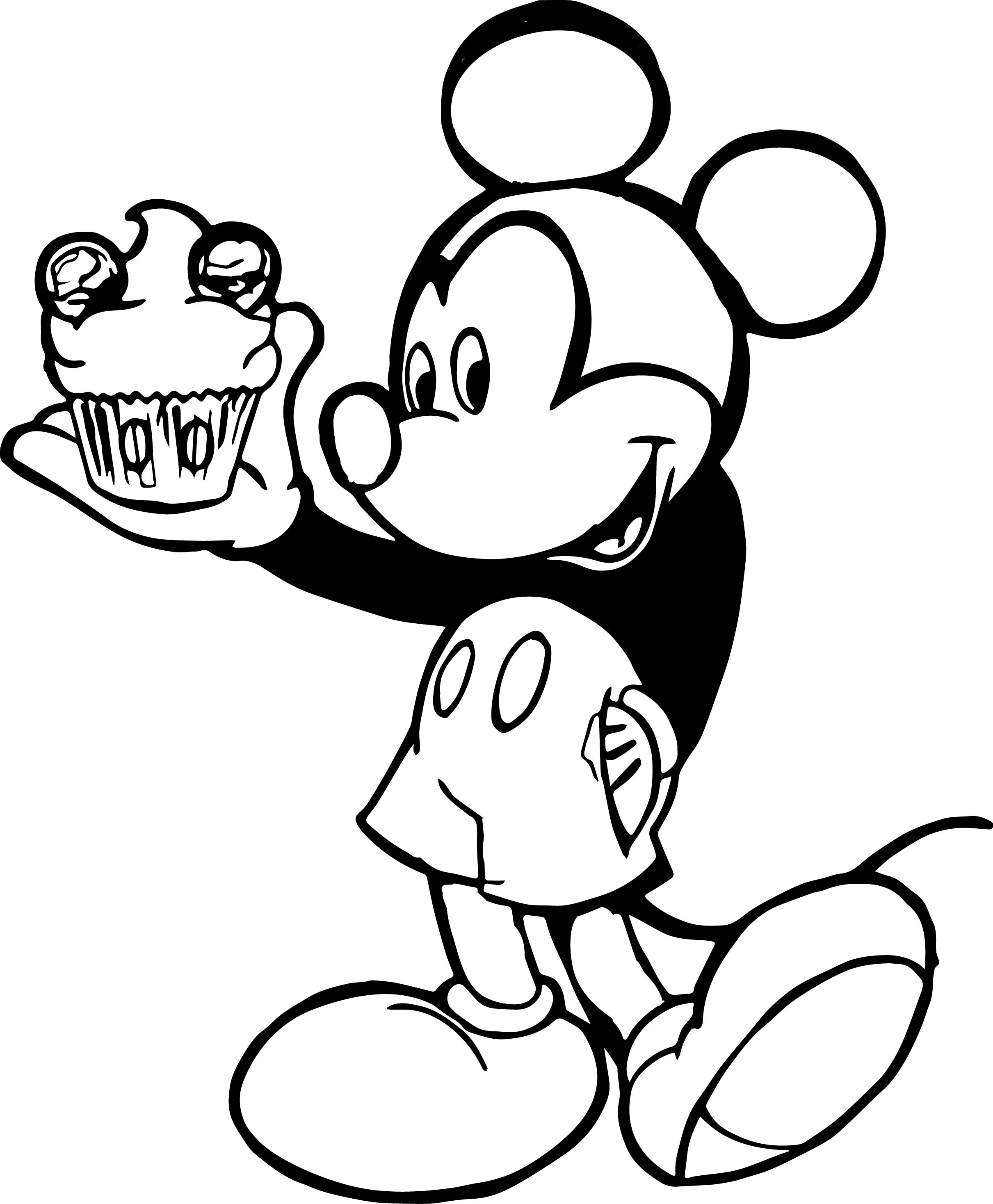 Mickey Cupcake Coloring Page