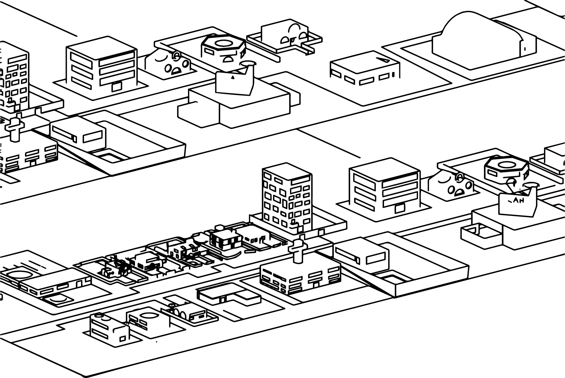 Mini City Outline Coloring Page