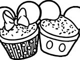 Minnie Mickey Cupcake Ears Coloring Page