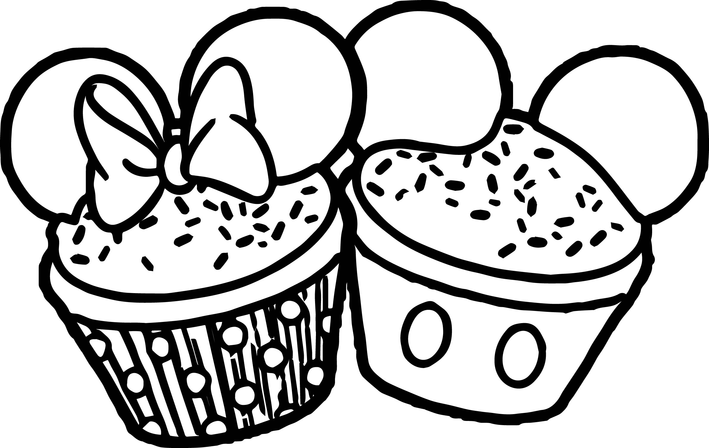 Minnie Mickey Cupcake Ears Coloring