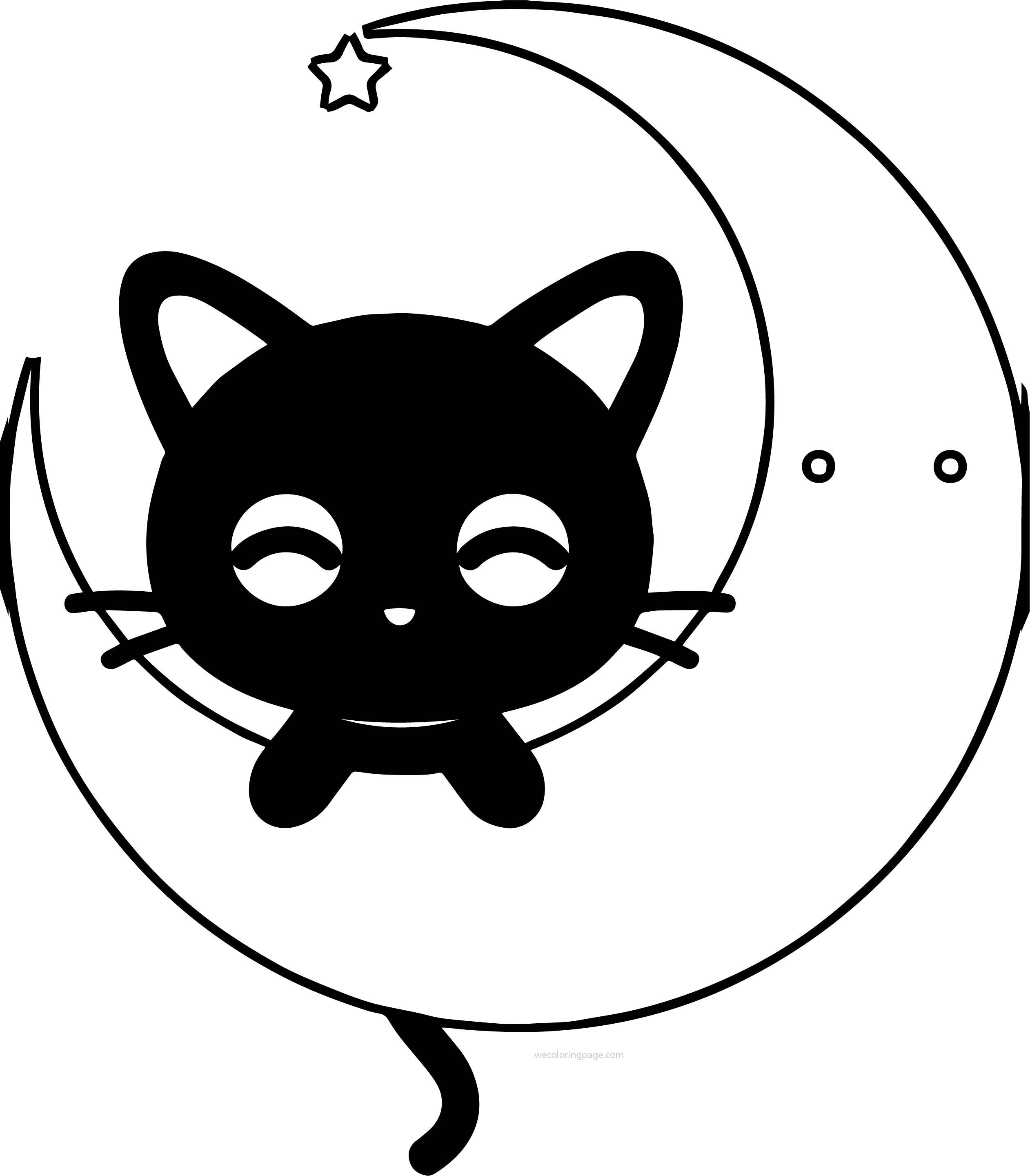 Moon Cat Coloring Page