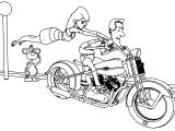 Motard Heureux Comic Scene Coloring Pages