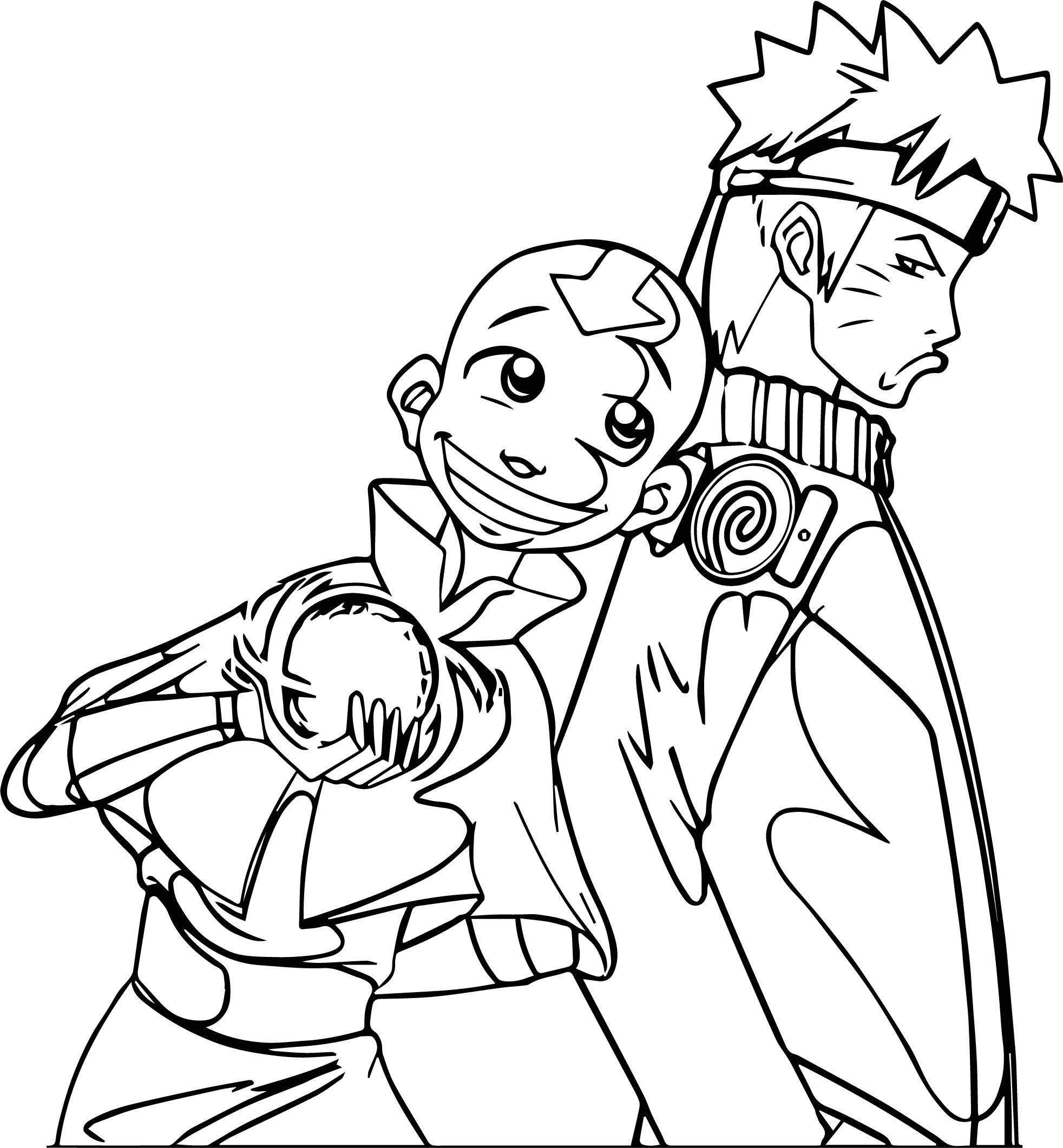 Naruto And Aang Jokerskull Dovglu Avatar Aang Coloring Page