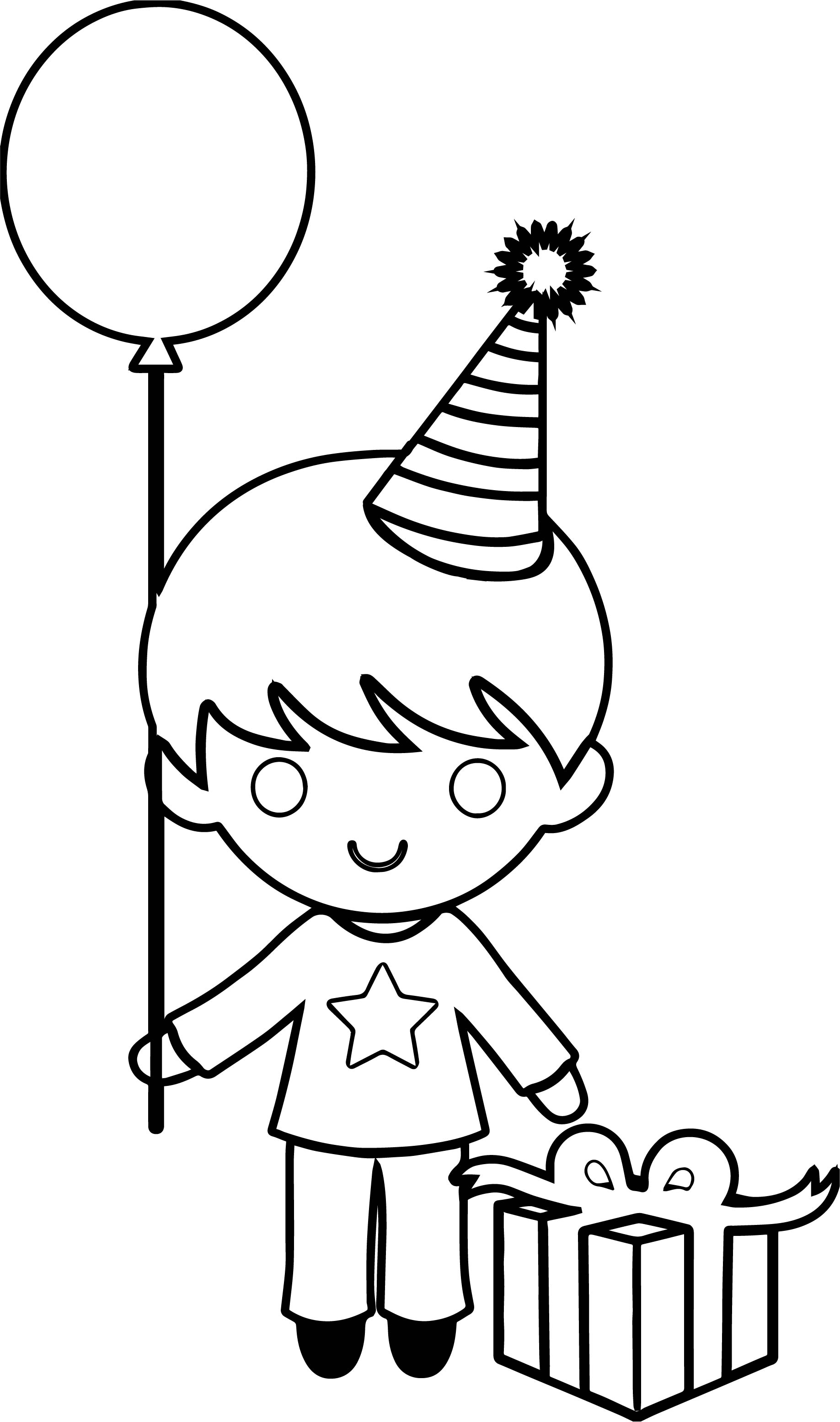 Party Birthday Boy Coloring Page