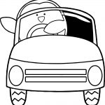 Penguin Driving Car Coloring Page