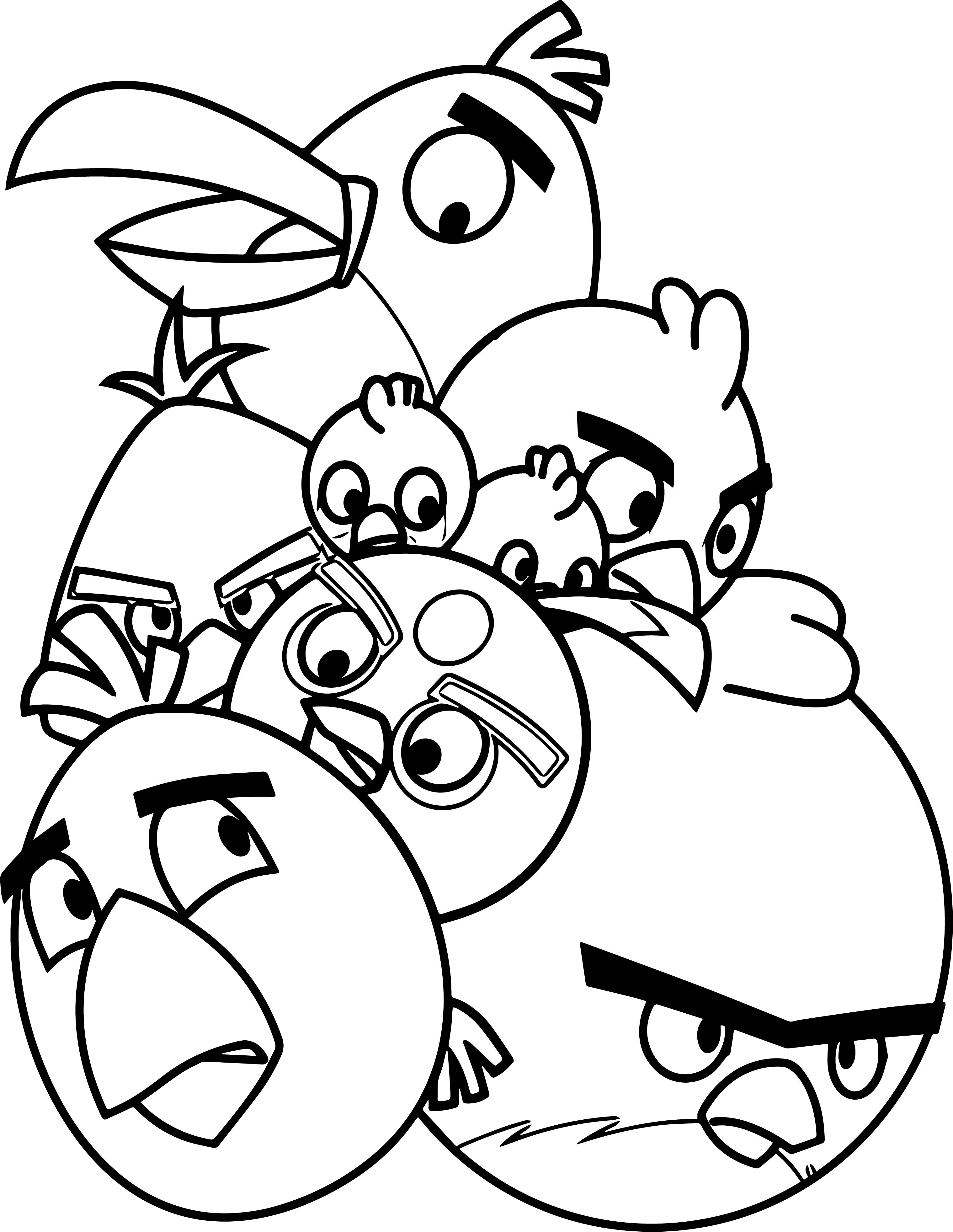 Ausmalbilder Angry Birds Space: Pile Of Angry Birds Coloring Page
