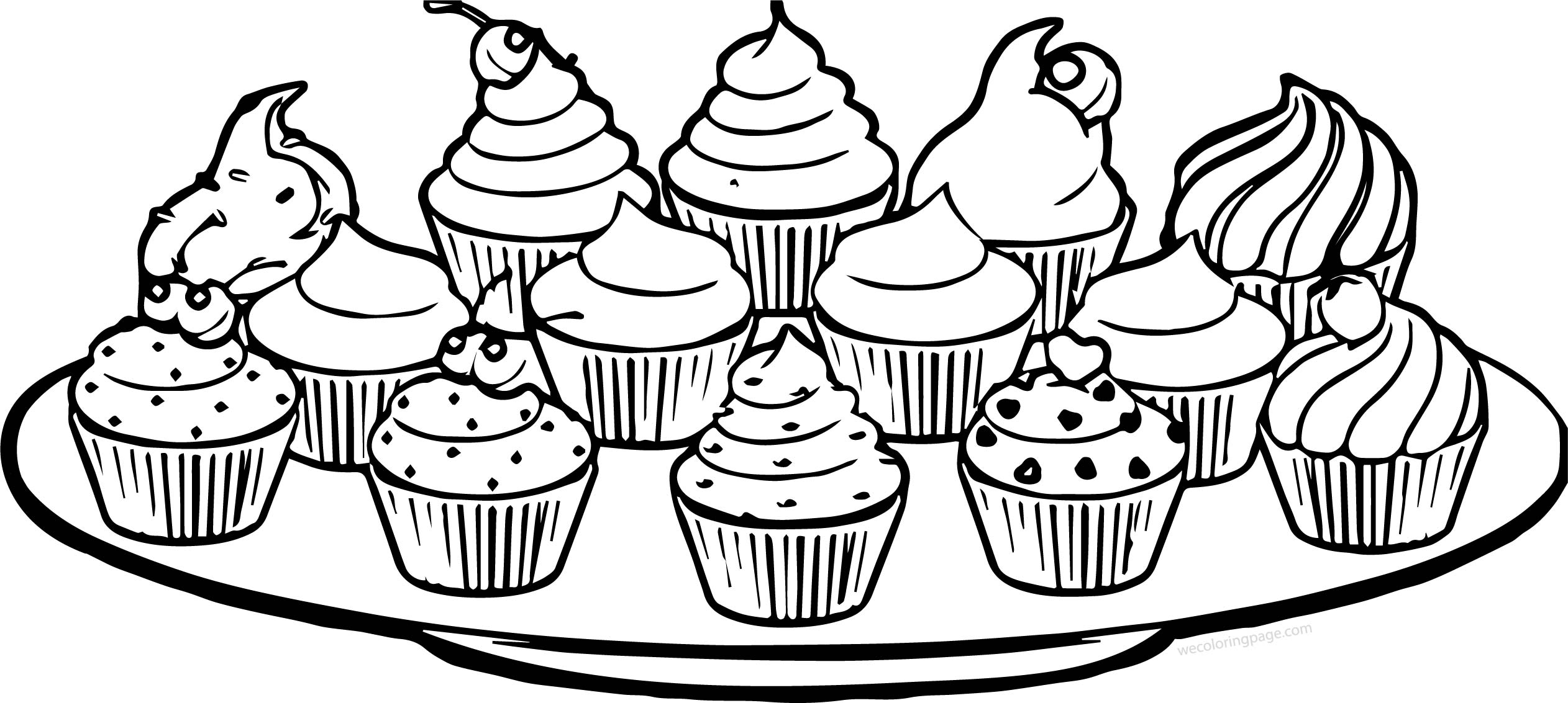 Plate Of Cupcakes Coloring Page