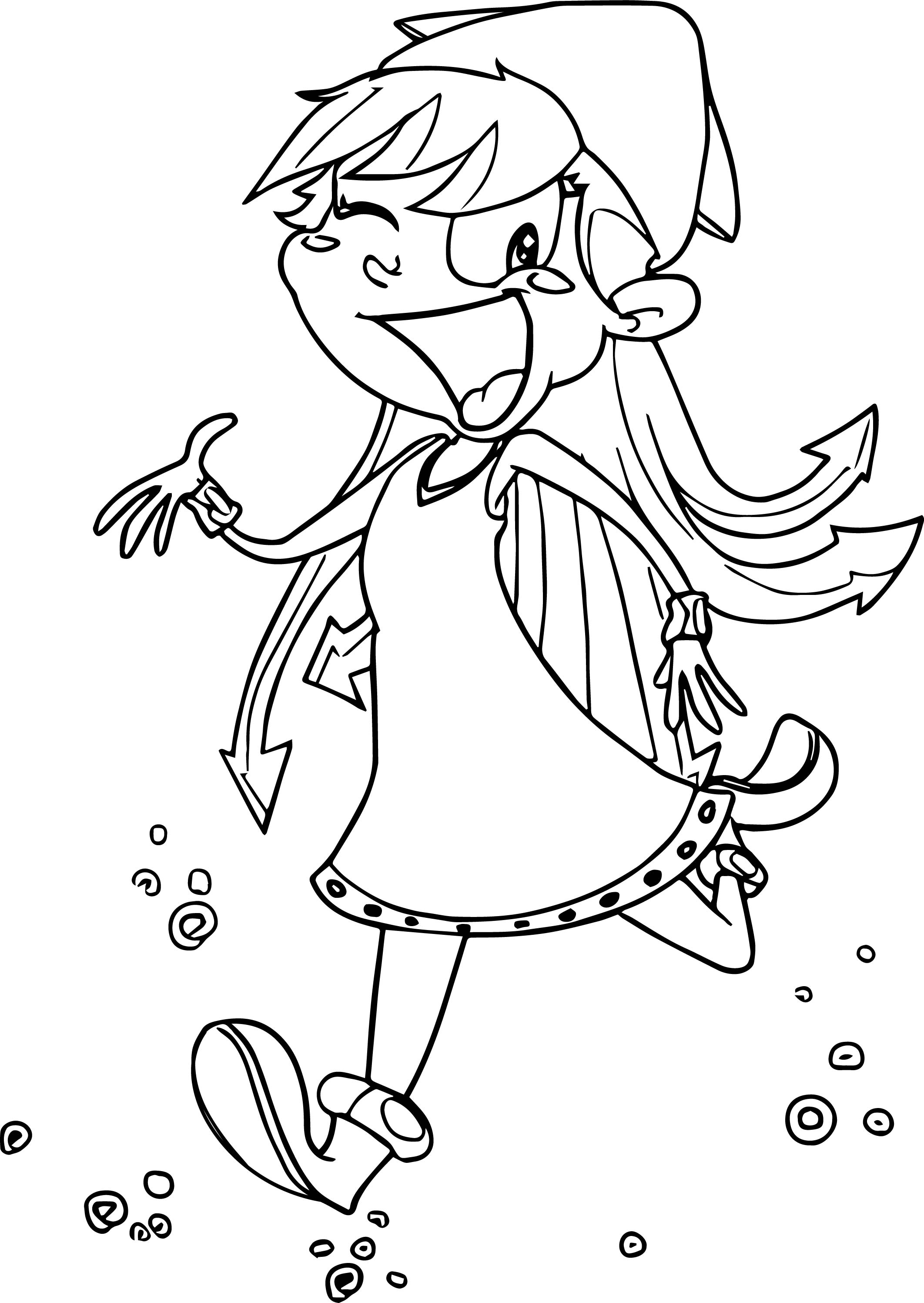 Running Squid Girl Coloring Page