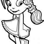 School Beautiful Hair Girl Coloring Page