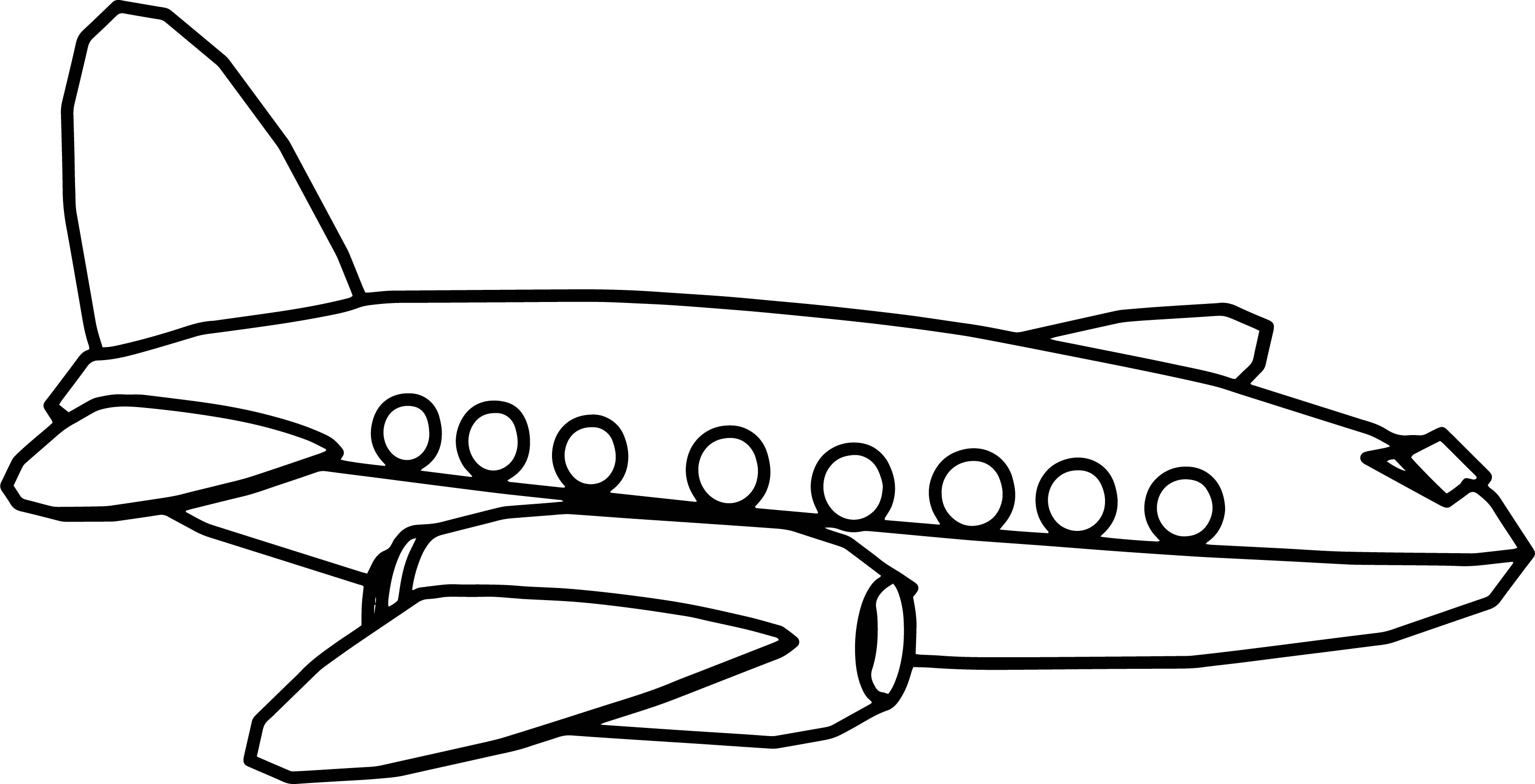 Side Cartoon Plane Coloring Page