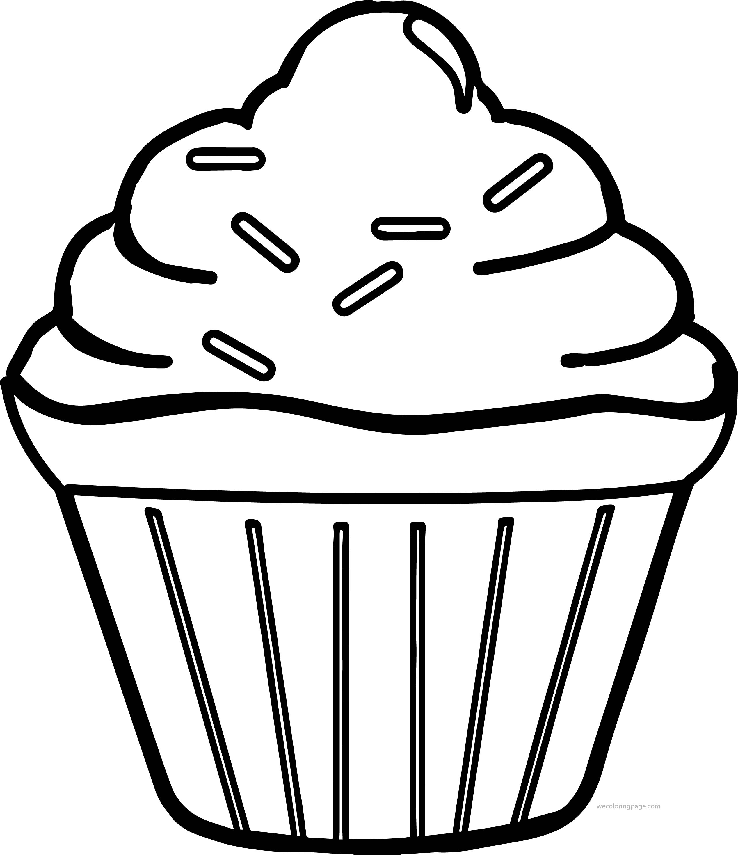 Simple Cupcake Coloring Page