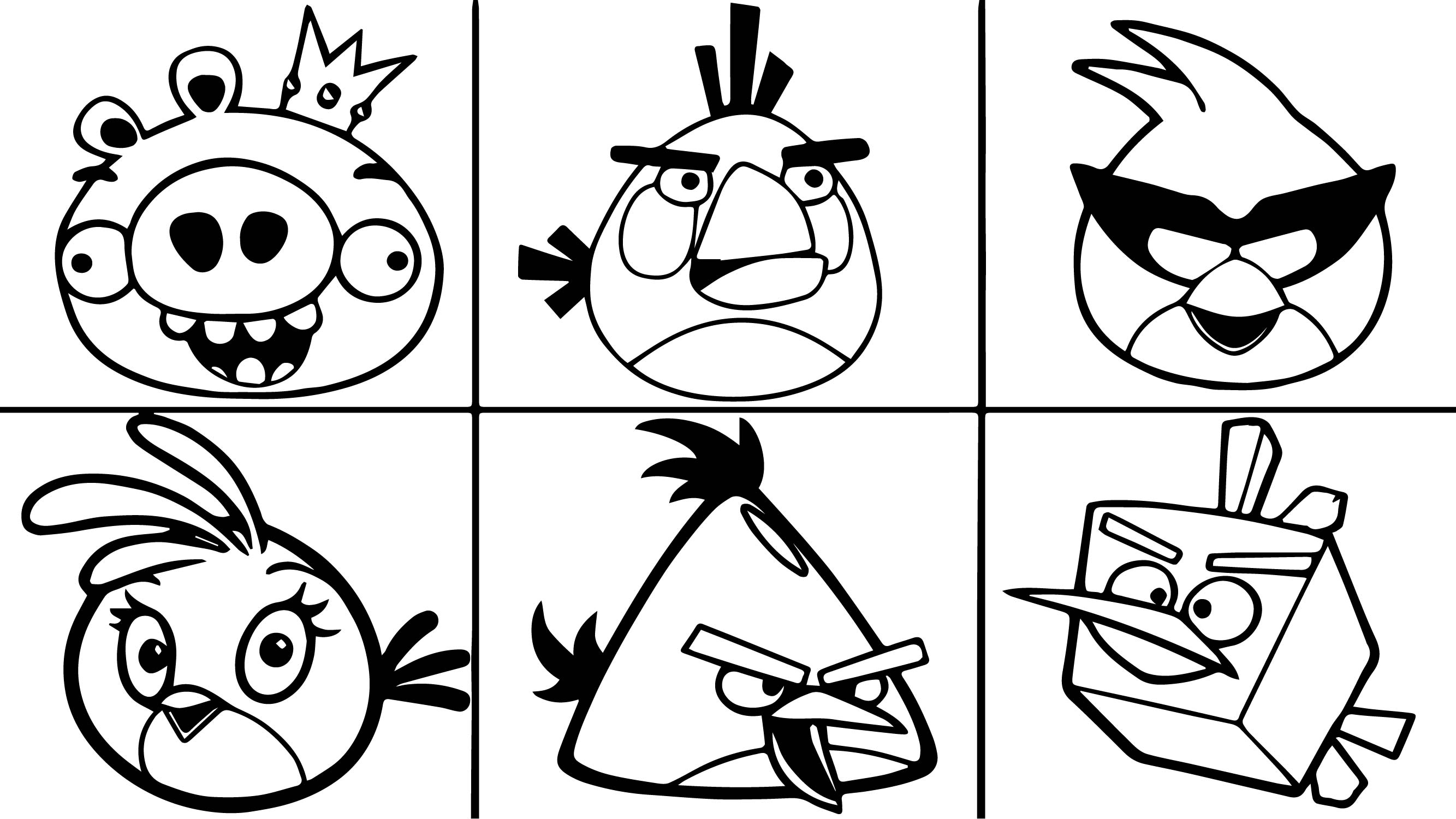 Six Angry Birds Coloring Page