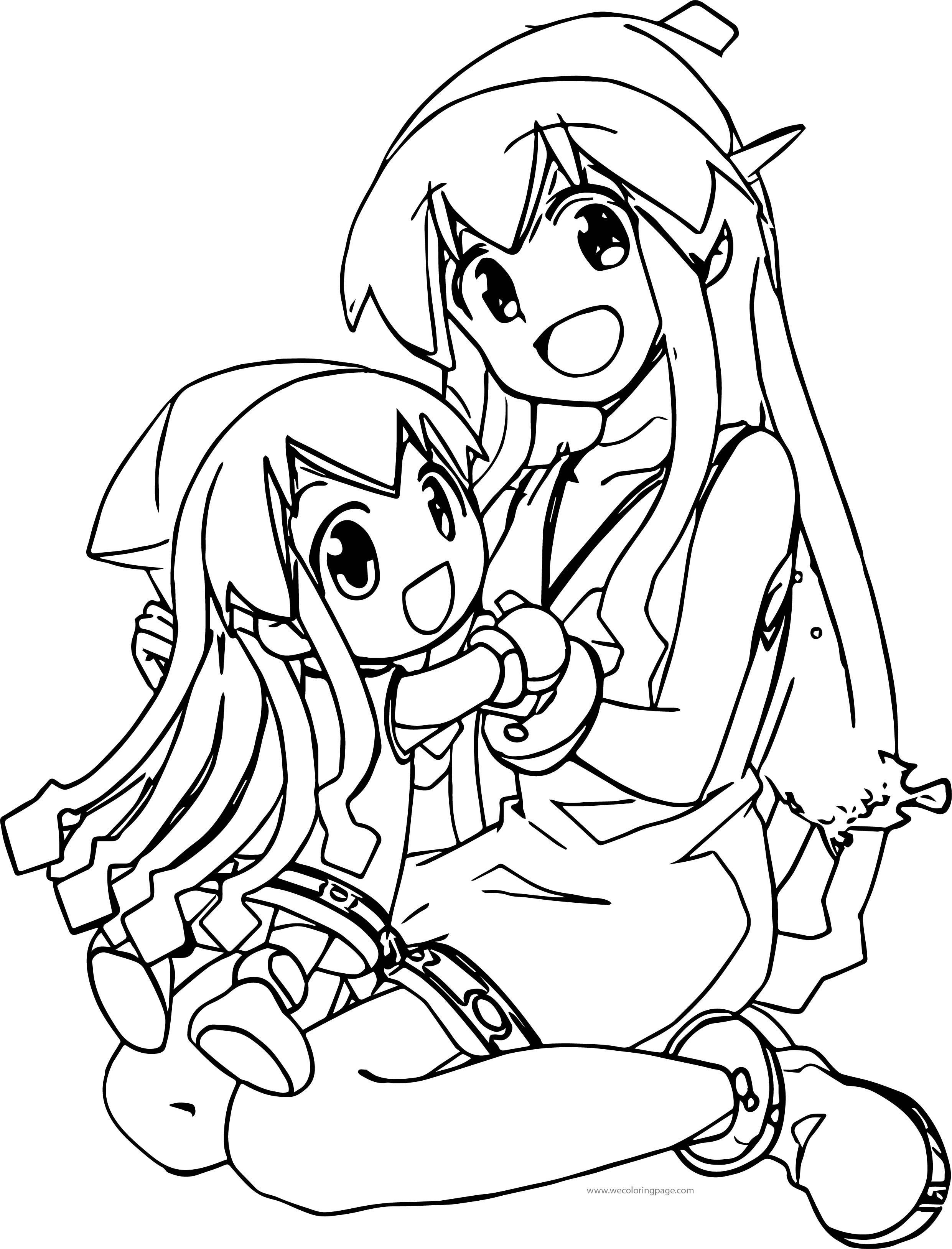 Small And Big Squid Girl Coloring Page