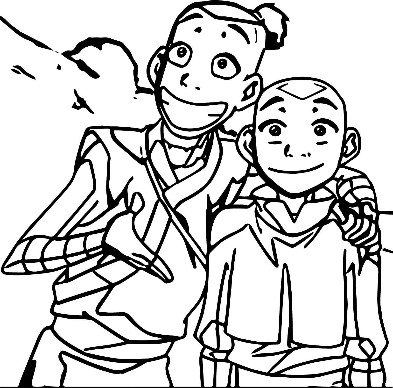 Sokka Aang Avatar Aang Coloring Page