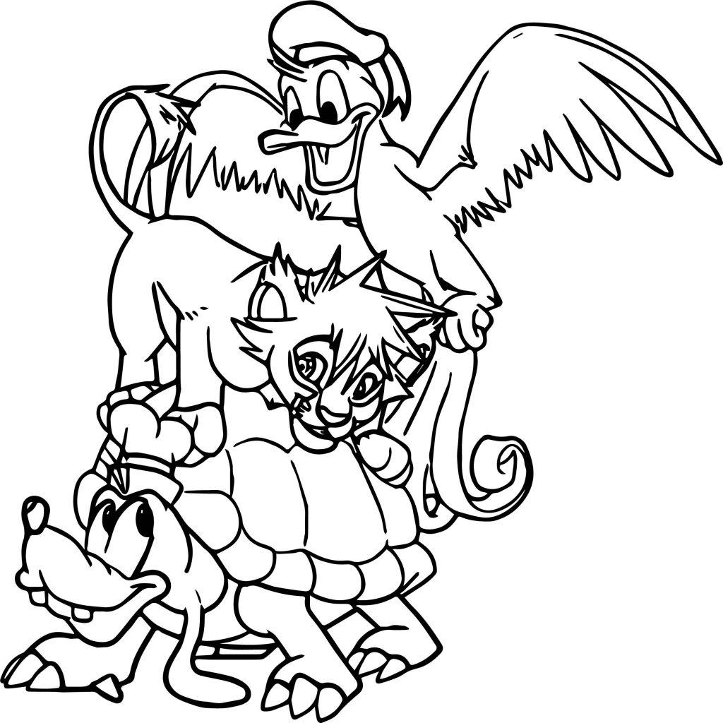 Sora Donald And Goofy Kingdom Hearts Coloring Page