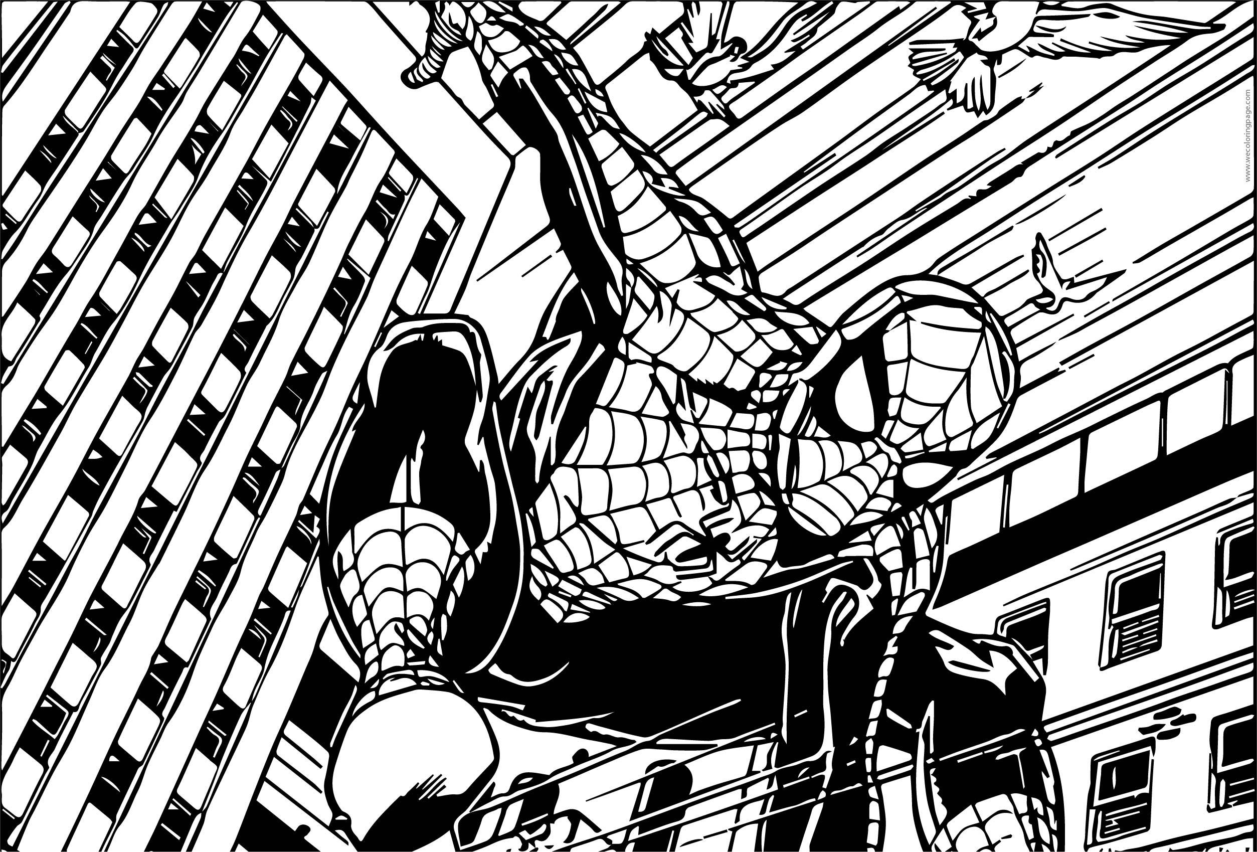 Spider Man Train Way Coloring Page