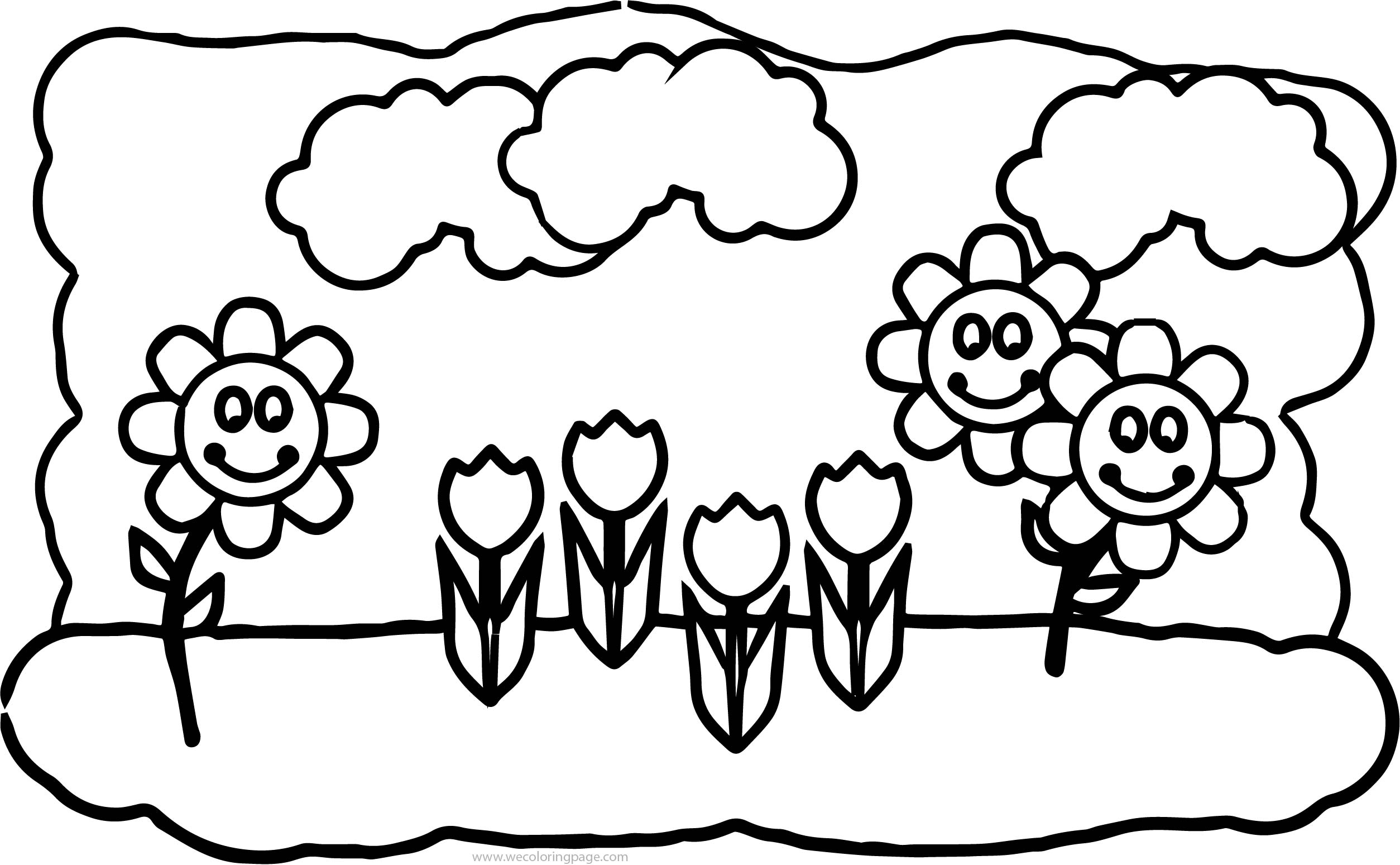 Spring Flower Spring Children Coloring Page