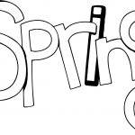 Spring Text Black White Outline Coloring Page