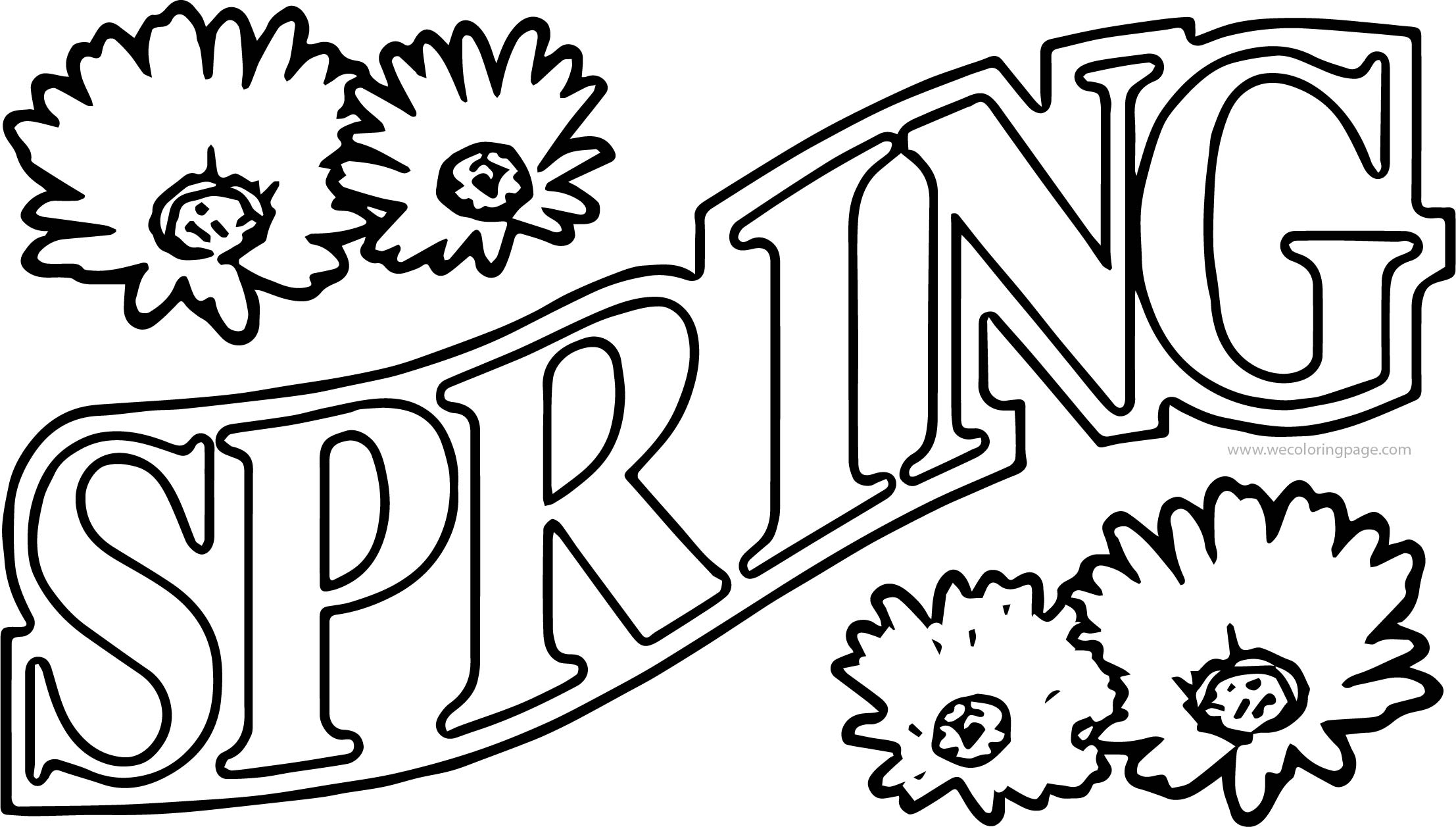 Spring text flower coloring pages wecoloringpage spring text flower coloring pages mightylinksfo