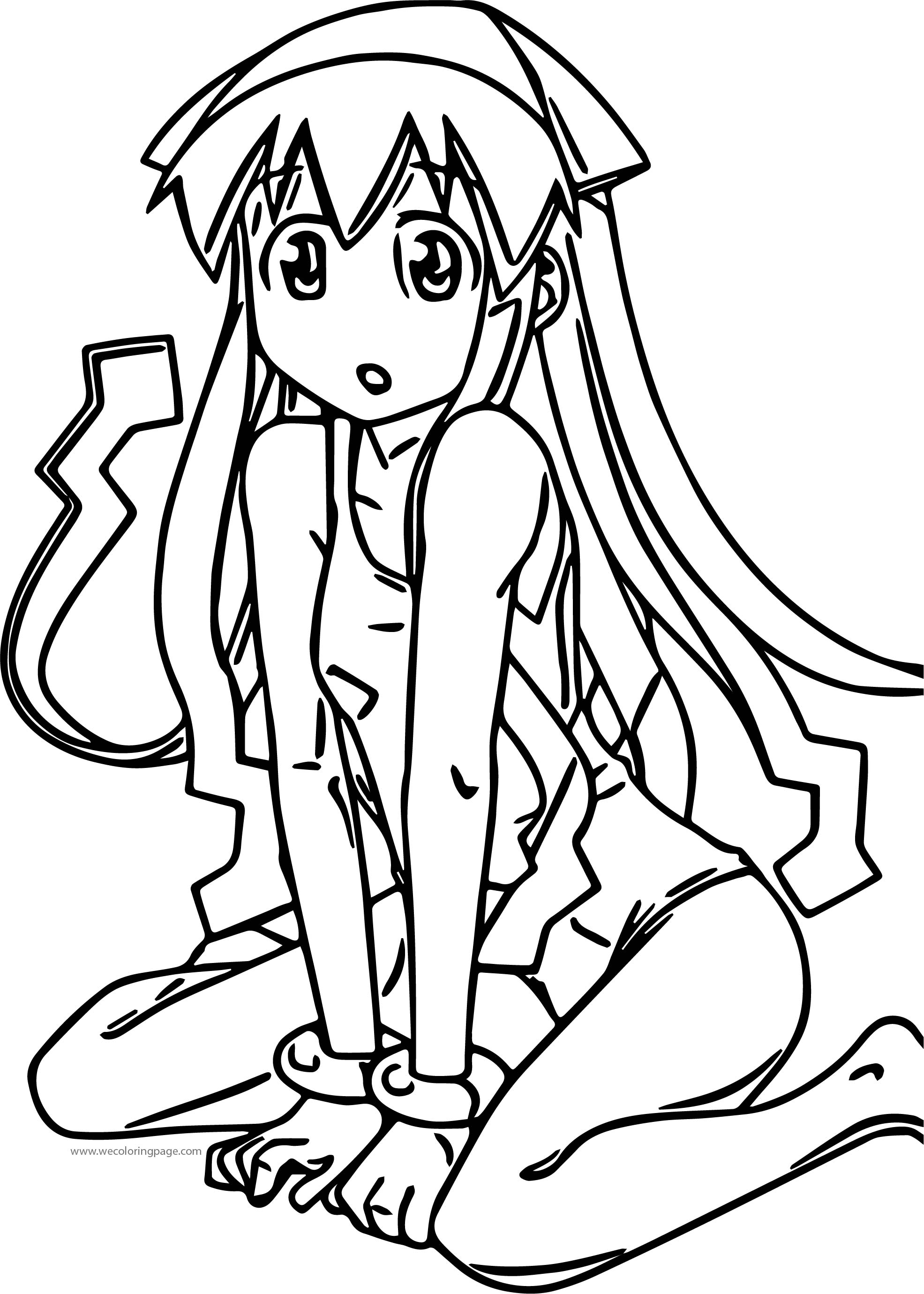 Squid Girl Cute Swimsuit Blue Hair Long Hat Eyes Legs Chibi Cartoon Coloring Page