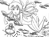 Squid Girl Under Sea Coloring Page
