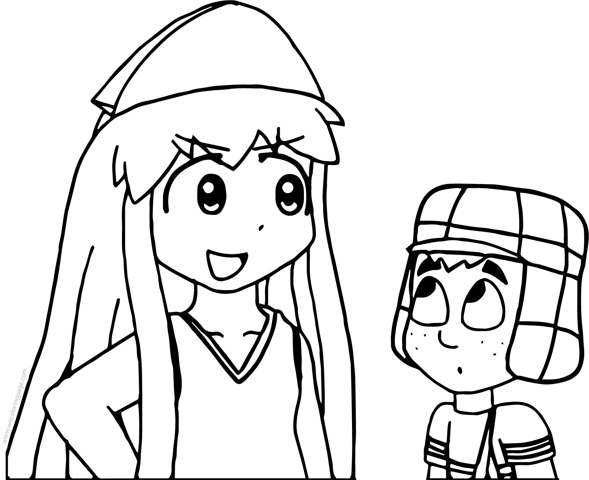 Squid Girl Will Take Care Of Quico For El Chavo Coloring Page