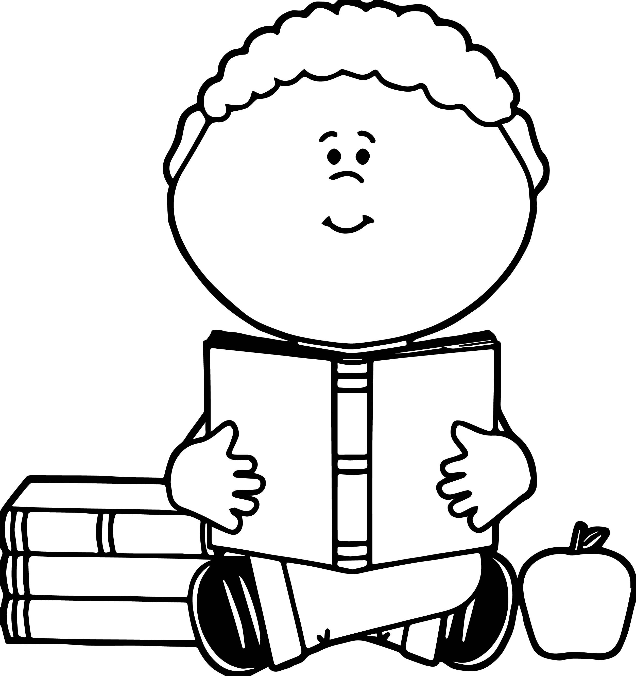 Staying And Reading Book Boy Coloring Page
