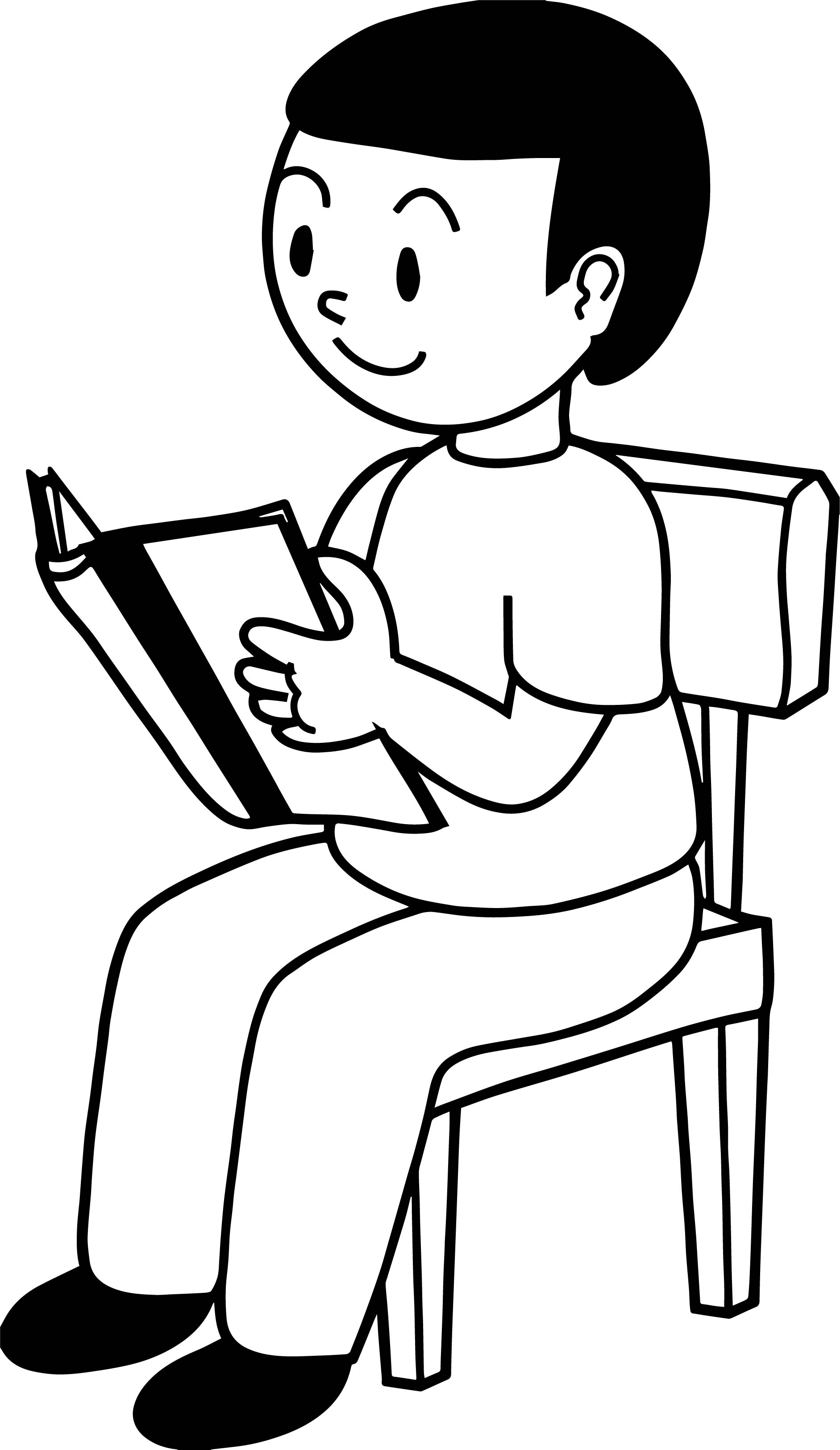 Staying And Reading Boy Coloring Page