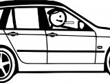 Stick Figure Car Coloring Page