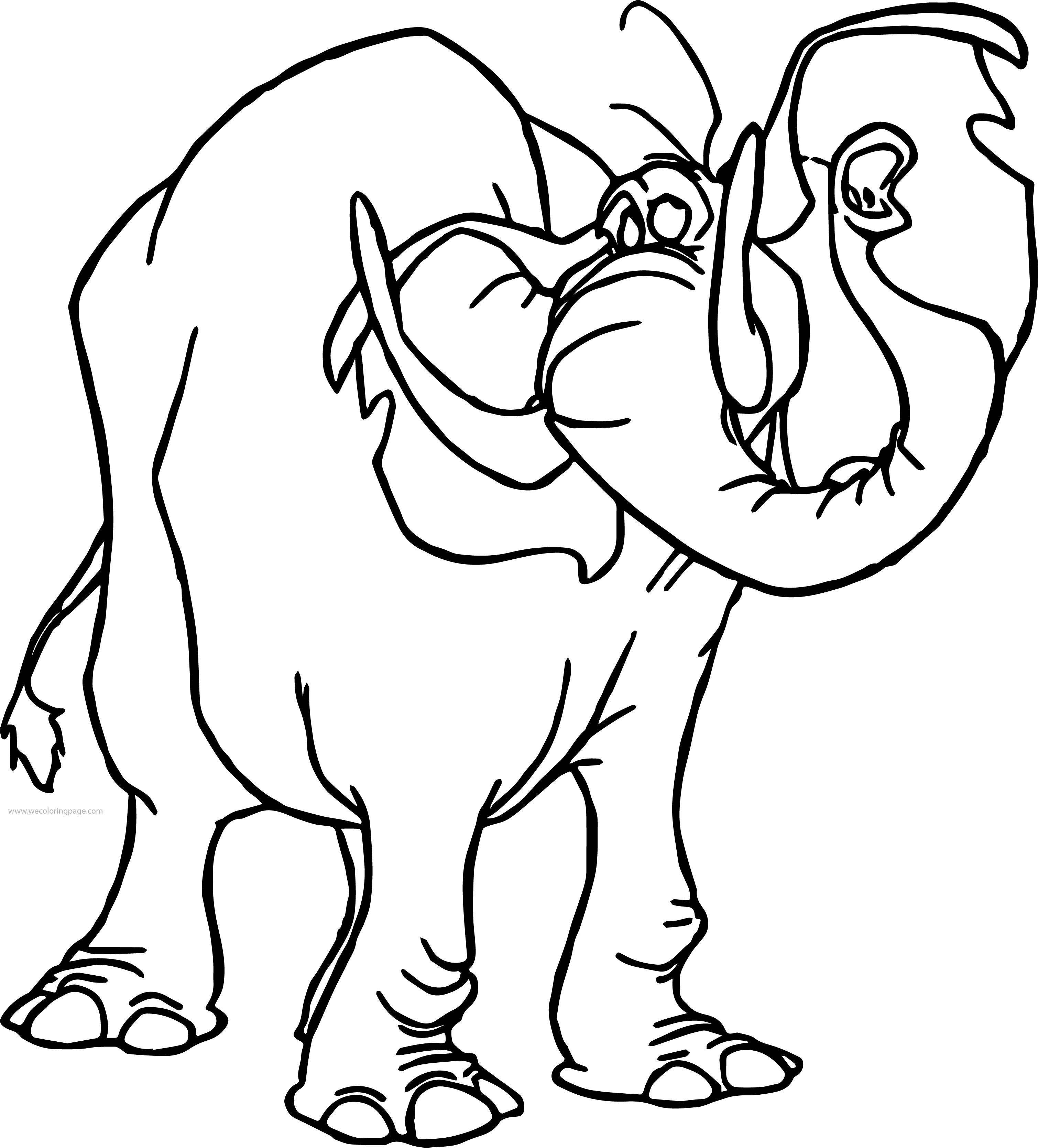 Tantor Elephant Listen Coloring Page