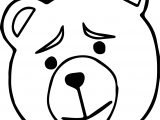 Tedy Bear Just Face Bear Coloring Page
