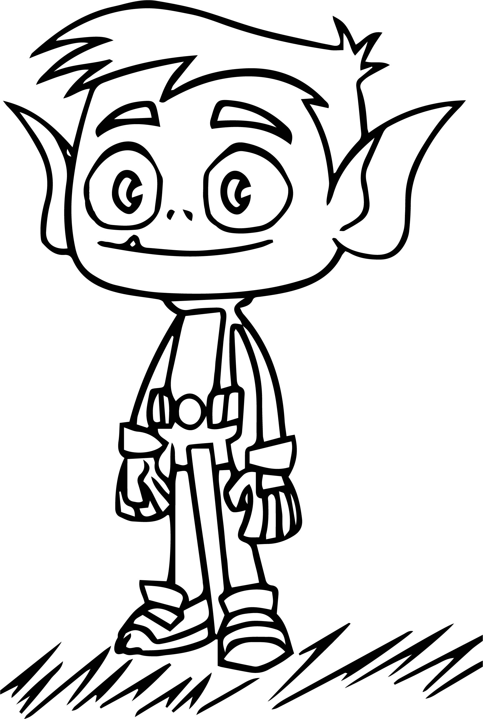 Teen Titans Go On Grass Coloring Page