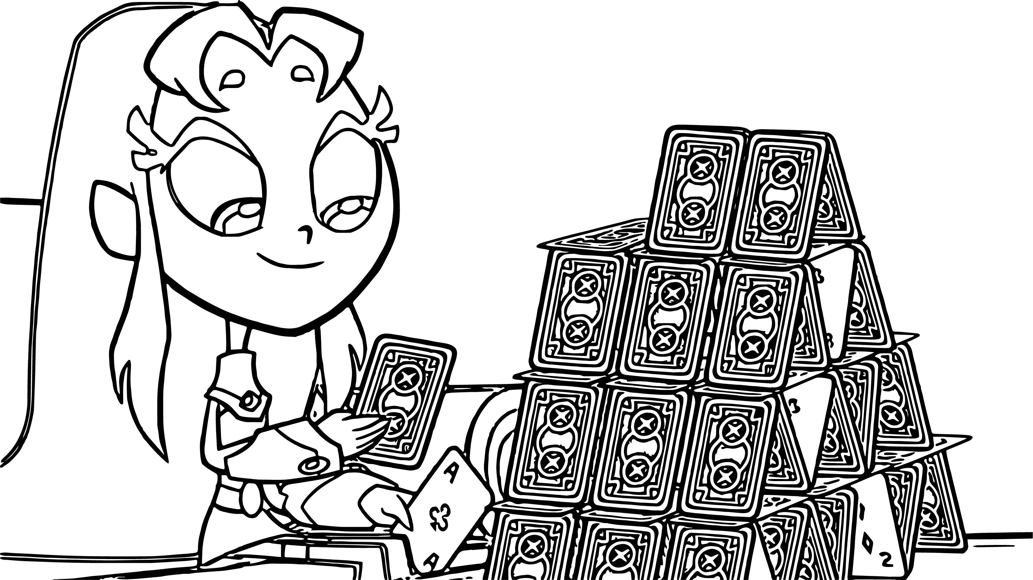 Teen Titans Go Robin Girl Card Game Coloring Page