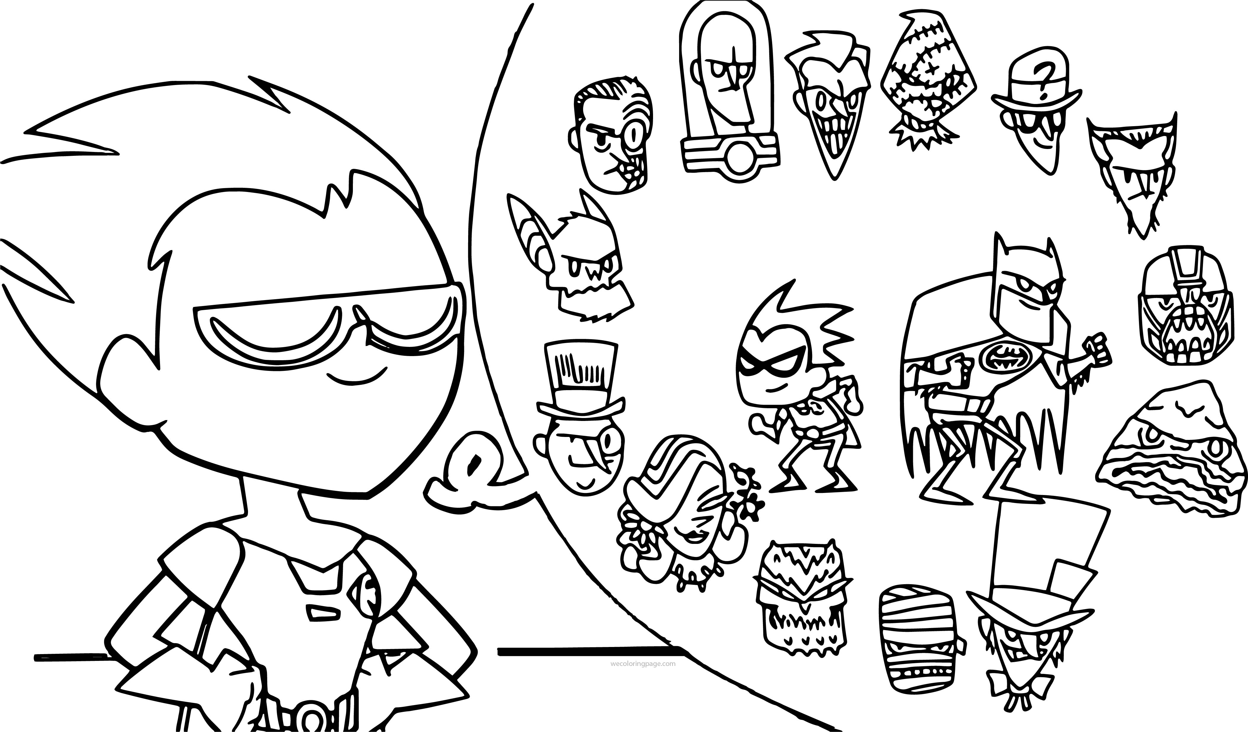 Teen Titans Go Robin Think Characters Coloring Page
