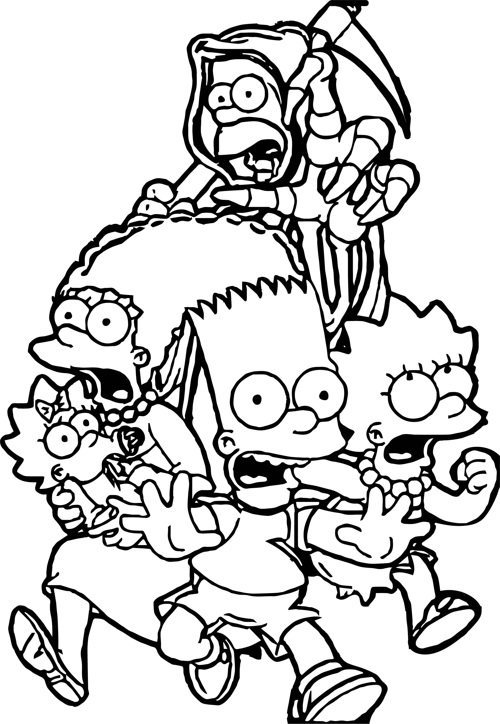 The Simpsons The Simpsons Scream Run Coloring Page