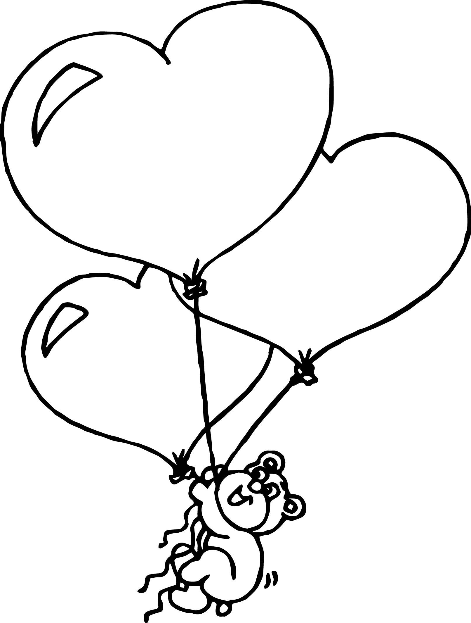 Three Balloons Bear Coloring Page