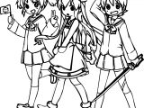Three Walking Squid Girl Coloring Page