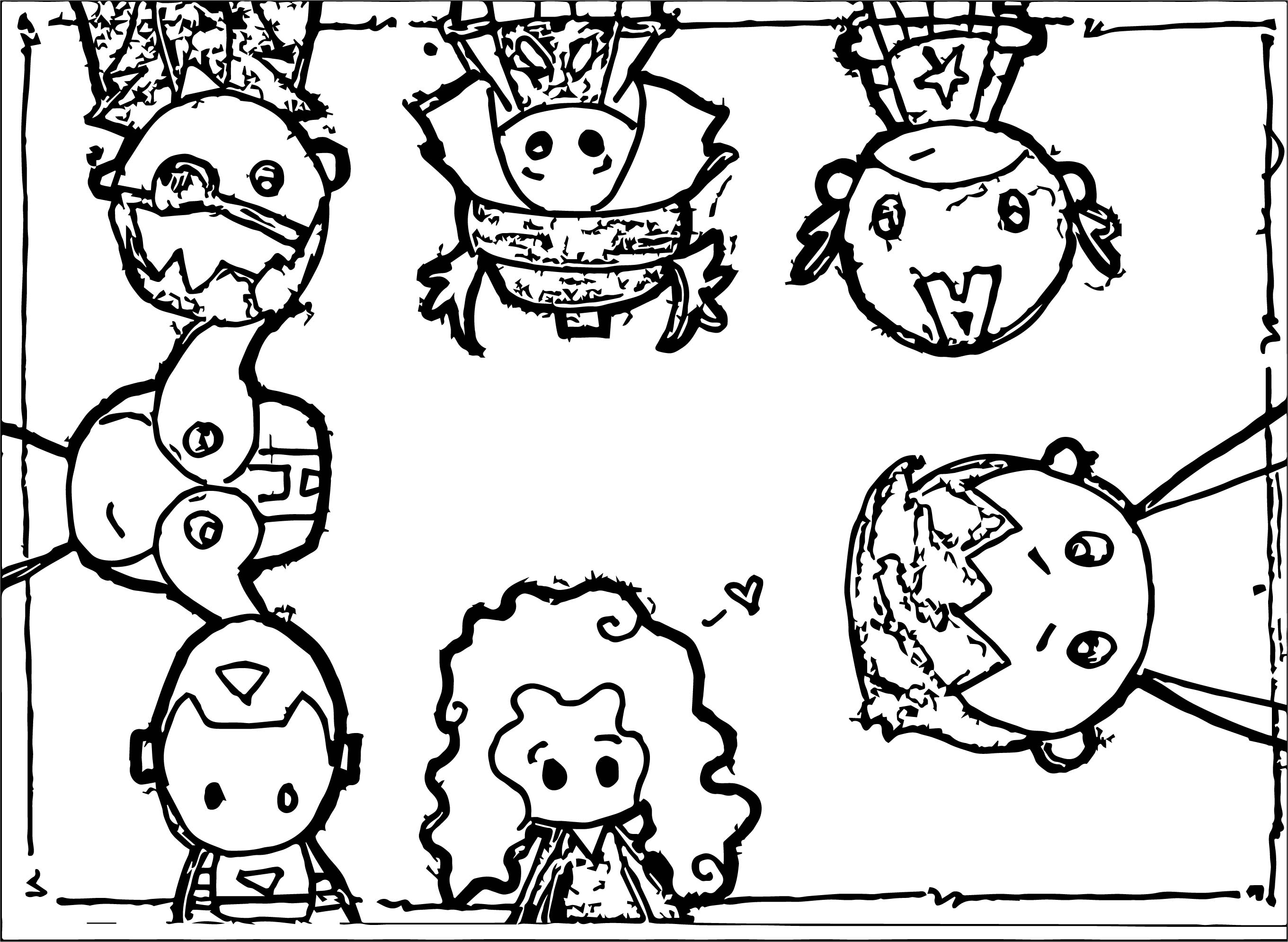 Tiny Avengers Coloring Page