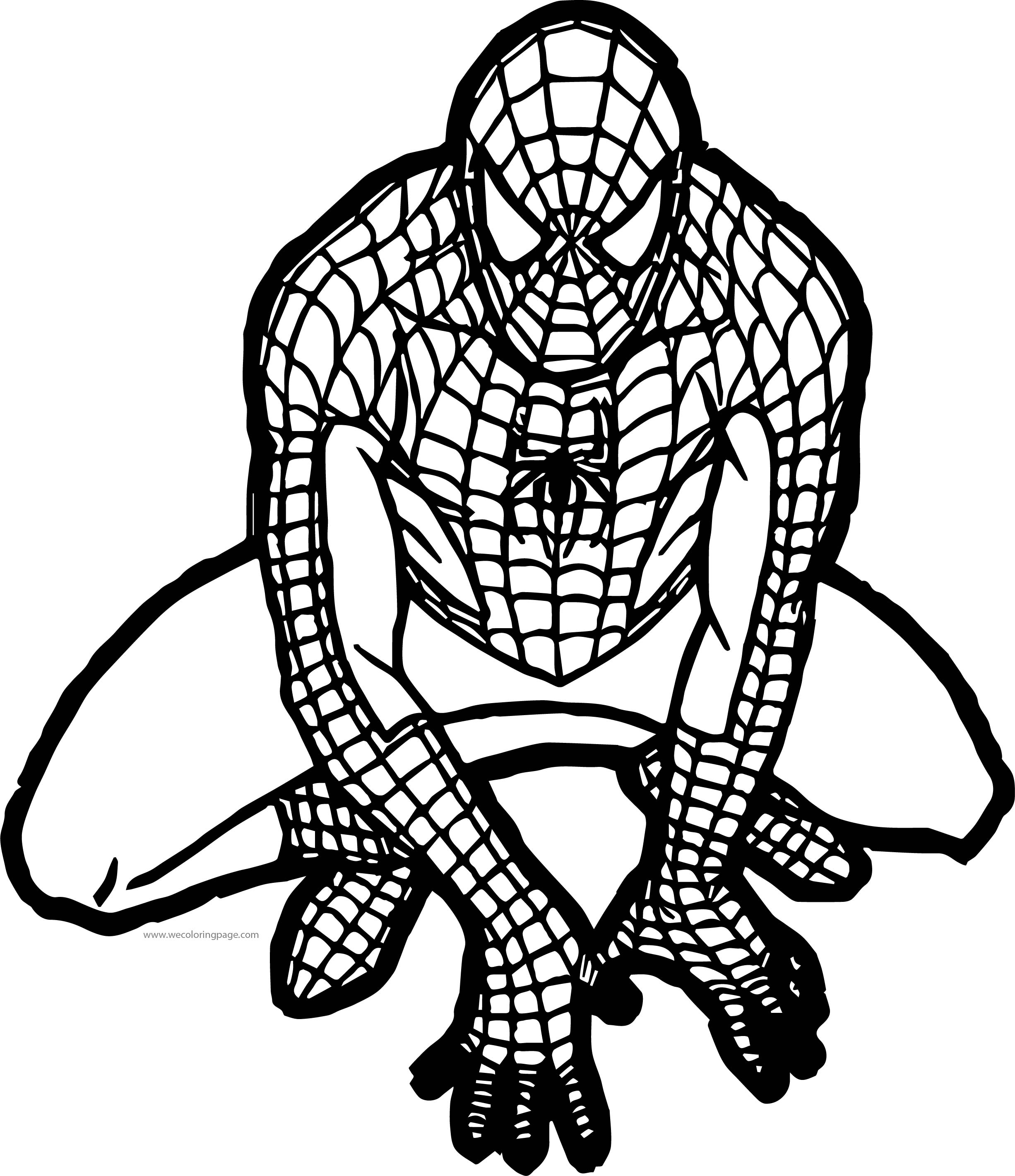 Waiting Spider Man Coloring Pages