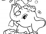 Washing Elephant Cartoon Free Coloring Page